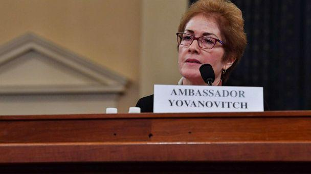 PHOTO: Former US Ambassador to the Ukraine Marie Yovanovitch testifies before the House Permanent Select Committee on Intelligence as part of the impeachment inquiry into President Donald Trump, on Capitol Hill, Nov. 15, 2019. (Nicholas Kamm/AFP via Getty Images)