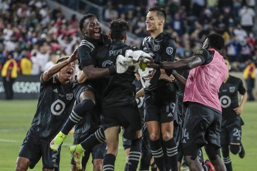 Los Angeles, CA, Wednesday, August 25, 2021 - MLS teammates swarm Ricardo Pepe after he scored the clinching penalty kick to beat Liga MX in the MLS All-Star game at Banc of California Park. (Robert Gauthier/Los Angeles Times)
