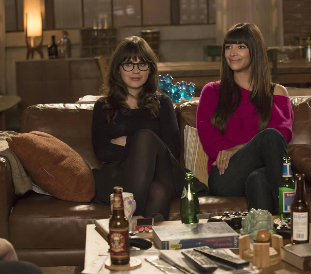 "Jess (Zooey Deschanel) and Cece (Hannah Simone) recount  how they both lost their virginity in the ""Virgins"" episode of ""New Girl."""