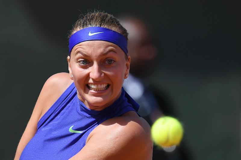Czech player Petra Kvitova hits a return to Bethanie Mattek-Sands of the US during their match the French Open at Roland Garros in Paris on May 31, 2017