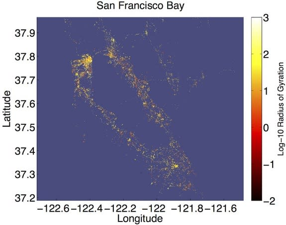 A map of human movement in the San Francisco Bay Area. Using geotagged Tweets, researchers found that metro downtowns are full of people who move about more (yellow), while suburban types tend to stay close to home (red).