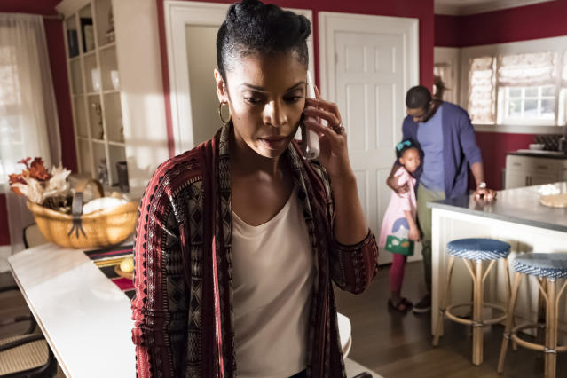 <p>Susan Kelechi Watson as Beth, Faithe Herman as Annie, and Sterling K. Brown as Randall in NBC's <i>This Is Us</i>.<br> (Photo: Ron Batzdorff/NBC) </p>