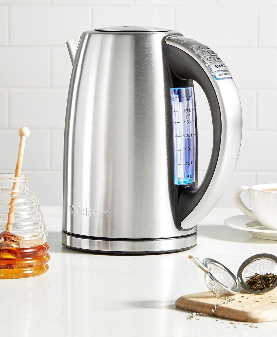 "So you can get boiling away, this electric kettle features a ""stay cool"" nonslip handle, auto shutoff setting and removable filter that's easy to clean. You can choose among six different preset temperatures. <a href=""https://fave.co/318hyR6"" target=""_blank"" rel=""noopener noreferrer"">Originally $125, get it now for $85 at Macy's</a>."