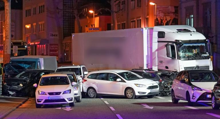 The articulated lorry slammed into around nine cars waiting at a traffic light (AFP Photo/Thorsten Wagner)