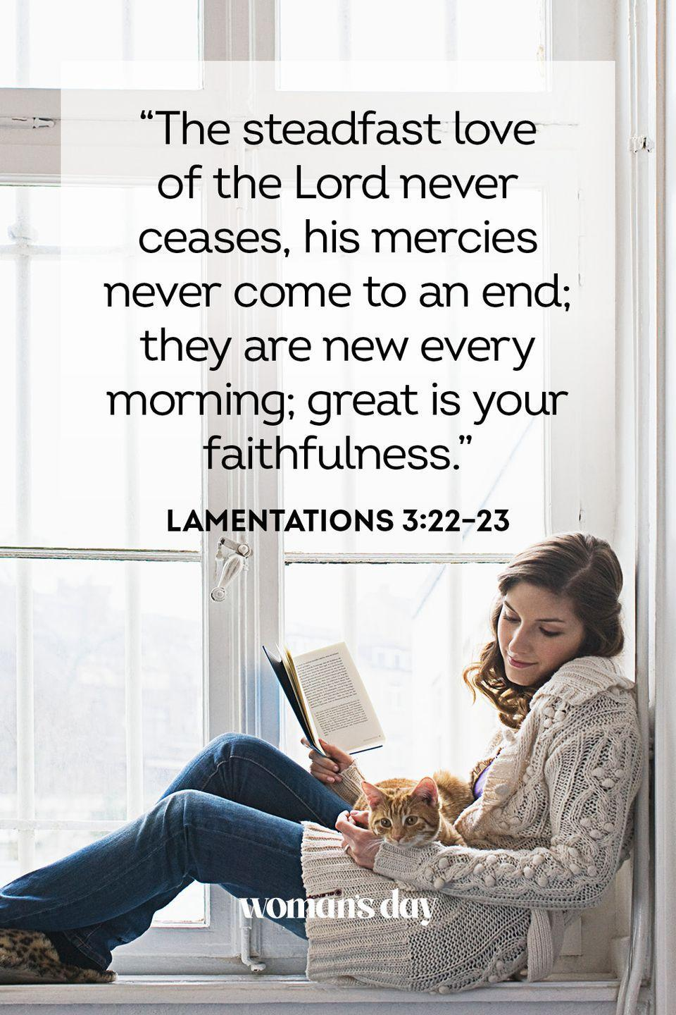 "<p>""The steadfast love of the Lord never ceases, his mercies never come to an end; they are new every morning; great is your faithfulness.""</p><p><strong>The Good News: </strong>God's comfort is renewed over and over again, fresh and new like the rising sun.</p>"