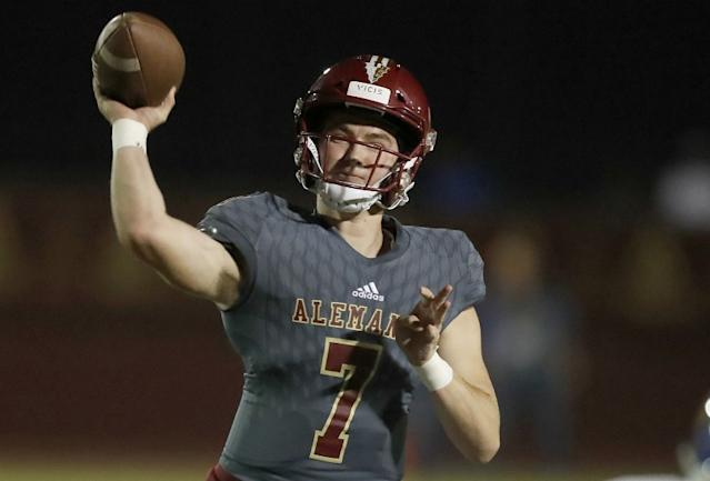 "Alemany High quarterback Miller Moss throws downfield against Bishop Amat last season. <span class=""copyright"">(Luis Sinco / Los Angeles Times)</span>"