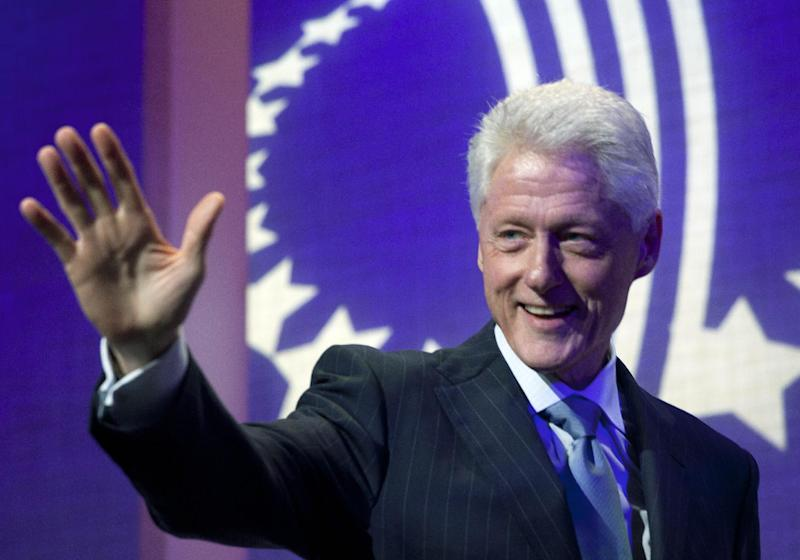 FILE - In this Sept. 23, 2012 file photo, former U.S. President Bill Clinton waves to the audience as he opens the Clinton Global Initiative, in New York. Clinton is one of the world's leading celebrity contributor's to charity. (AP Photo/Mark Lennihan, File)