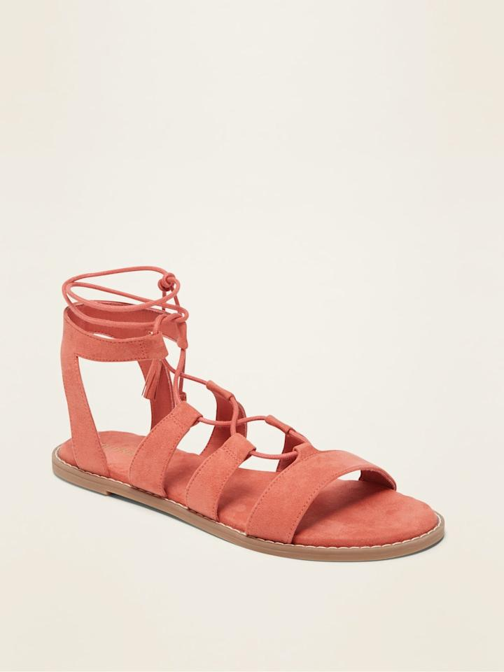 "<p><a href=""https://www.popsugar.com/buy/Faux-Suede-Lace-Up-Gladiator-Sandals-572594?p_name=Faux-Suede%20Lace-Up%20Gladiator%20Sandals&retailer=oldnavy.gap.com&pid=572594&price=15&evar1=fab%3Aus&evar9=47458158&evar98=https%3A%2F%2Fwww.popsugar.com%2Fphoto-gallery%2F47458158%2Fimage%2F47458169%2FOld-Navy-Faux-Suede-Lace-Up-Gladiator-Sandals&list1=old%20navy%2Csandals%2Cfashion%20trends%2Ceditors%20pick%2Cproduct%20reviews&prop13=api&pdata=1"" rel=""nofollow"" data-shoppable-link=""1"" target=""_blank"" class=""ga-track"" data-ga-category=""Related"" data-ga-label=""https://oldnavy.gap.com/browse/product.do?pid=552420#pdp-page-content"" data-ga-action=""In-Line Links"">Faux-Suede Lace-Up Gladiator Sandals</a> ($15, originally $35)</p>"