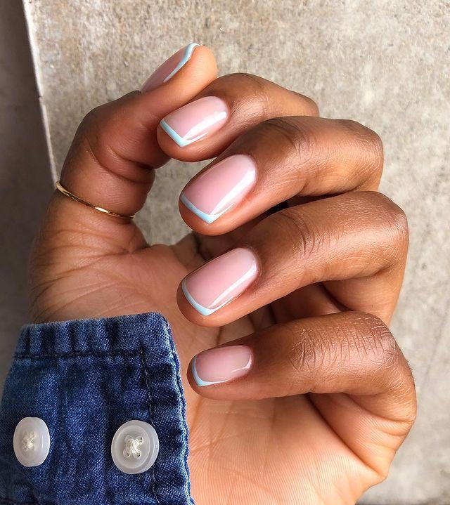 """<p>Pair a nude nail with a slick of baby blue across the tip. Dreamy. </p><p><a href=""""https://www.instagram.com/p/CFfbx1QDv0h/"""" rel=""""nofollow noopener"""" target=""""_blank"""" data-ylk=""""slk:See the original post on Instagram"""" class=""""link rapid-noclick-resp"""">See the original post on Instagram</a></p>"""