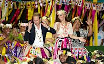 <p>Perhaps saving the best for last, Prince William and Kate Middleton spent their final day on a 2012 tour of Southeast Asia savoring local flavors and traditions — including Polynesian-style grass skirts and floral headwear — in Tuvalu while representing Queen Elizabeth on a trip to the South Pacific for the monarch's Diamond Jubilee Tour.</p>