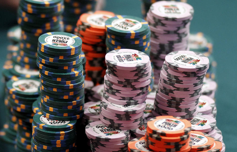 A stack of chips sits on a table during the main event at the World Series of Poker