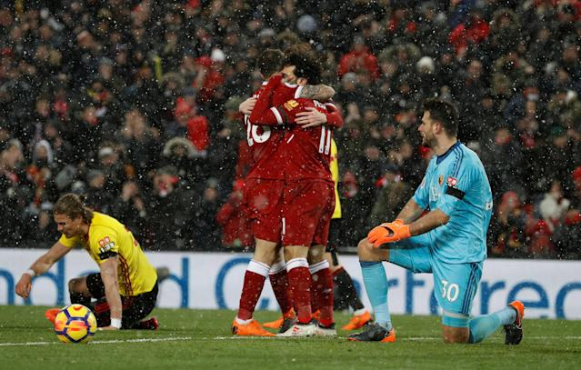 "Soccer Football - Premier League - Liverpool vs Watford - Anfield, Liverpool, Britain - March 17, 2018 Liverpool's Mohamed Salah celebrates scoring their fifth goal REUTERS/Phil Noble EDITORIAL USE ONLY. No use with unauthorized audio, video, data, fixture lists, club/league logos or ""live"" services. Online in-match use limited to 75 images, no video emulation. No use in betting, games or single club/league/player publications. Please contact your account representative for further details."