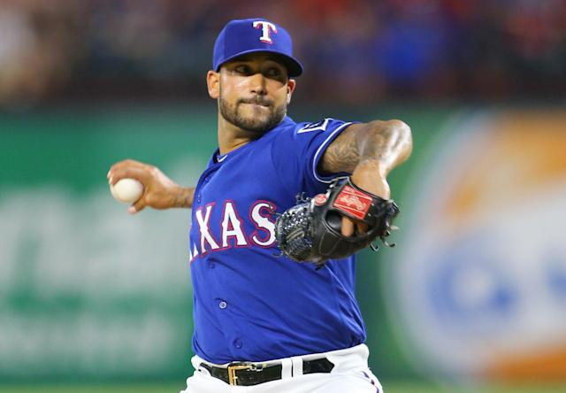 Rangers reliever Matt Bush's throws his slider 91.3 mph. (Getty Images)