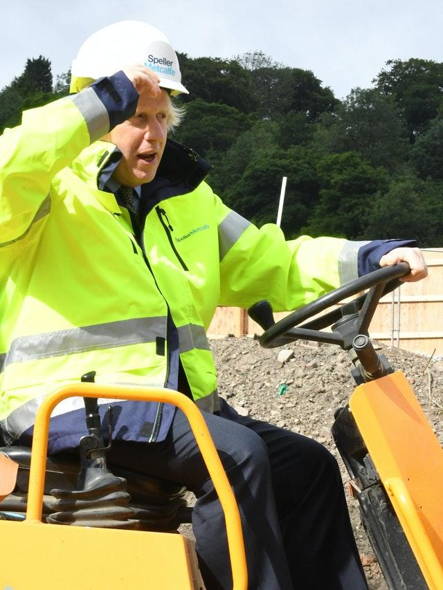 Prime Minister Boris Johnson during a visit to the Speller Metcalfe's building site at The Dudley Institute of Technology