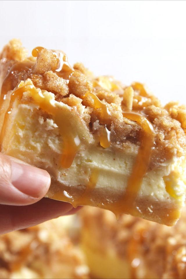 """<p><span>Caramel apple deliciousness.</span></p><p>Get the recipe from <a rel=""""nofollow"""" href=""""http://www.delish.com/cooking/recipe-ideas/recipes/a55418/caramel-apple-cheesecake-bars-recipe/"""">Delish</a>.</p>"""