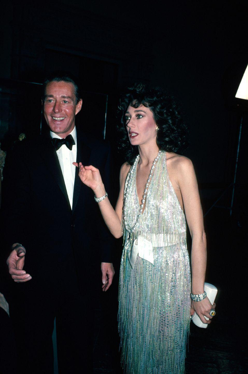<p>Here, Halston is pictured at an event with famed actress Marisa Berenson.</p>