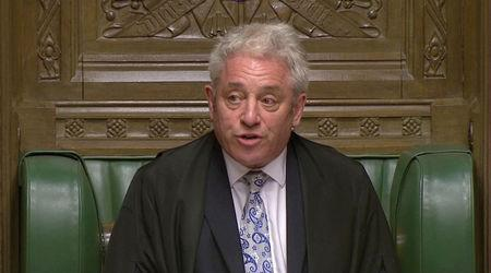 FILE PHOTO: Speaker of the House of Commons John Bercow announces the results of a round of voting on alternative Brexit options at the House of Commons in London, Britain April 1, 2019 in this still image taken from video. Reuters TV via REUTERS/File Photo