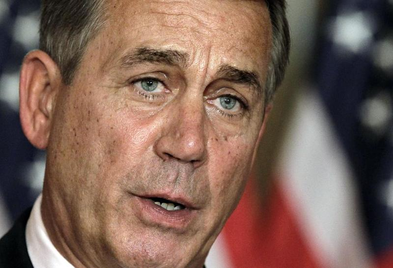 """FILE - In this July 30, 2011, file photo, House Speaker John Boehner, R-Ohio, speaks at a news conference as the debt crisis goes unresolved on Capitol Hill in Washington. Boehner has been caught up in a monumental struggle over taxes and spending aimed at keeping the country from taking a yearend dive over the """"fiscal cliff."""" President Barack Obama is tugging Boehner one way in pursuit of a budget deal, while conservatives yank the other way, some howling that the speaker already is going wobbly on them and turning vindictive against those in his party who dare disagree. (AP Photo/J. Scott Applewhite, File)"""