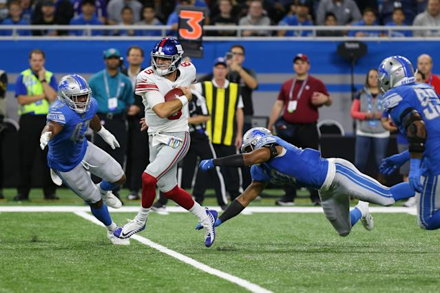 Daniel Jones was one step ahead of the Lions defense for most of Sunday. (Scott W. Grau/Icon Sportswire via Getty Images)