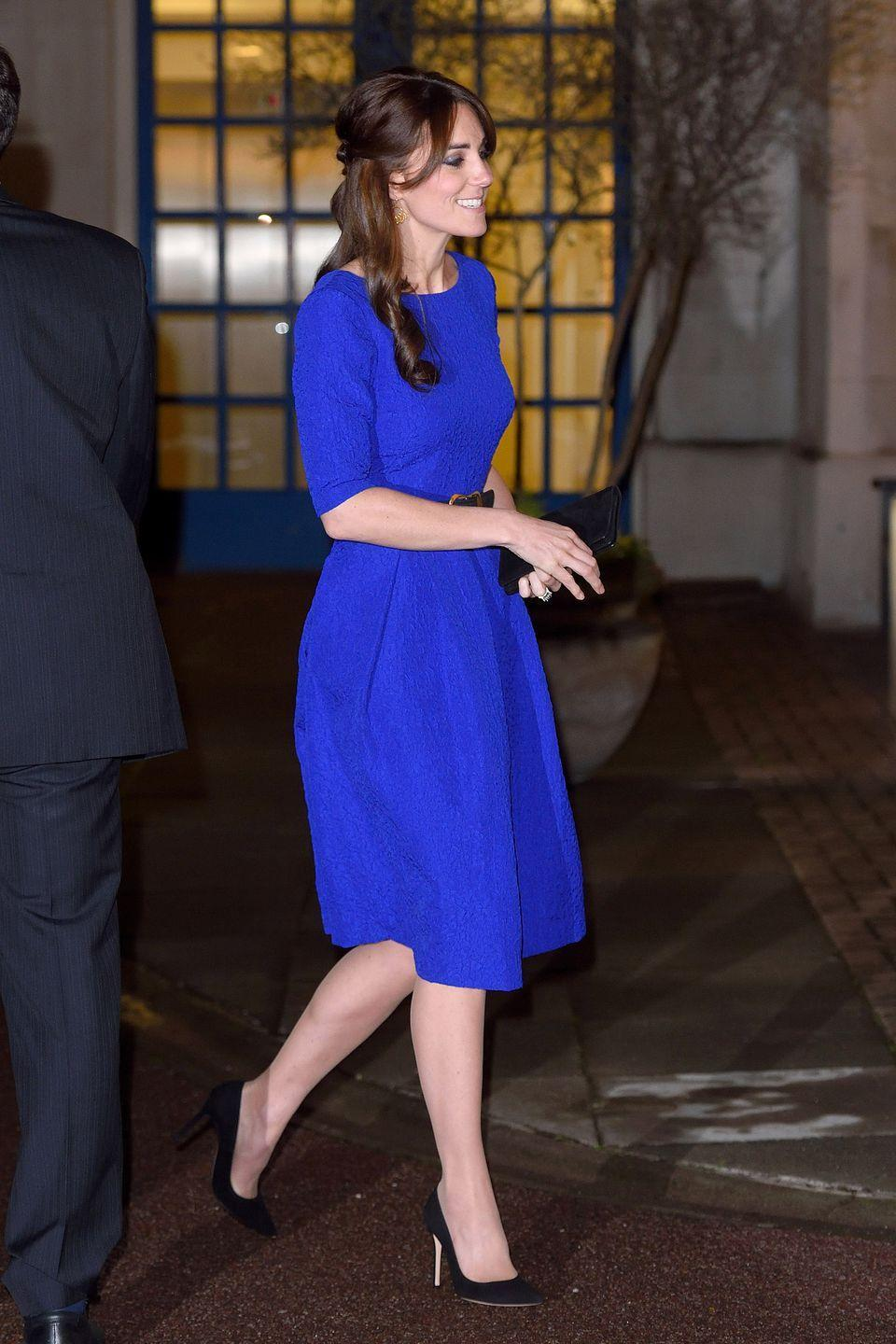 <p>The Duchess of Cambridge attends the Fostering Excellence Awards at BMA House in London in a royal blue Saloni dress. </p>