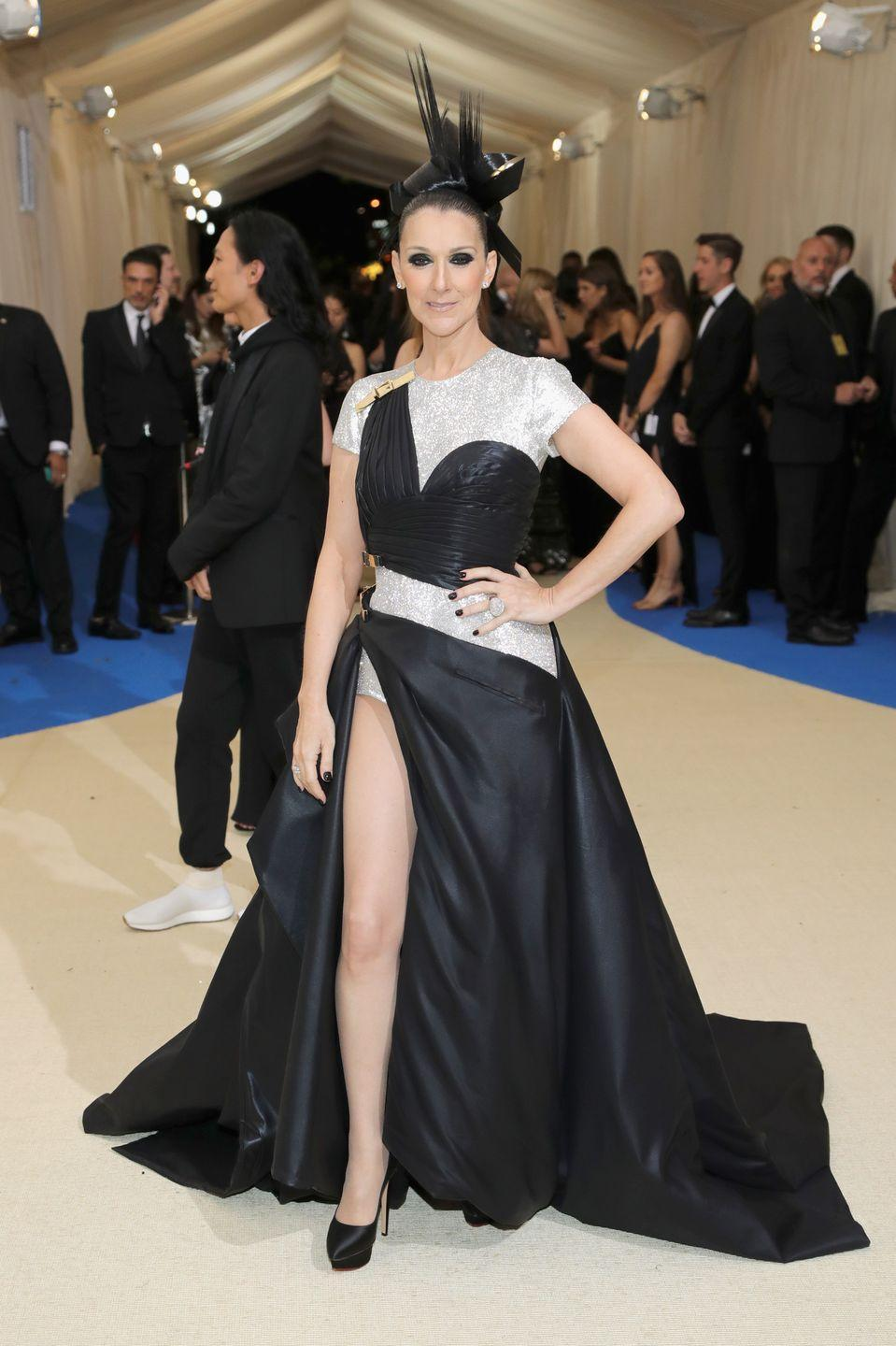 <p>For her first ever Met Gala, Dion went big in an Atelier Versace gown and headpiece. </p>