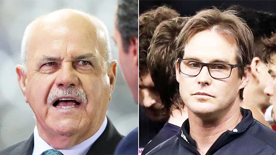 AFL legend Leigh Matthews (pictured left) has offered some words of advice for David Teague (pictured right) before unleashing on the Carlton hierarchy. (Getty Images)