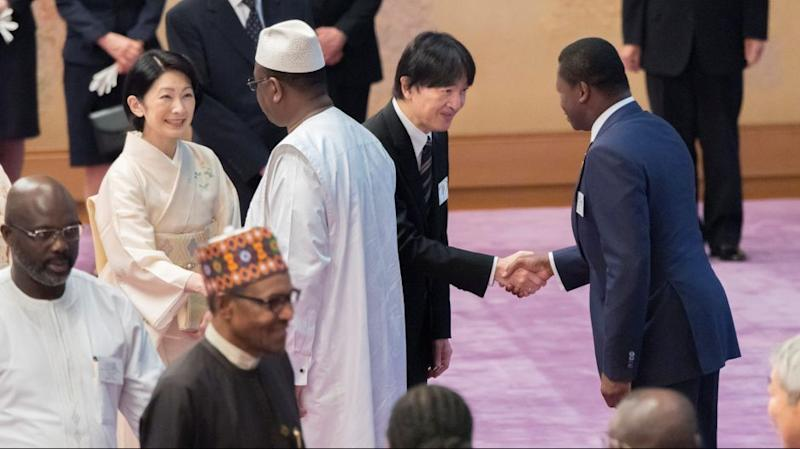 Japan's Crown Prince Akishino and Crown Princess Kiko greet leaders attending the seventh Tokyo International Conference on African Development during a tea party at the Imperial Palace in Tokyo, August 30, 2019, in this photo released by the Imperial Household Agency of Japan.