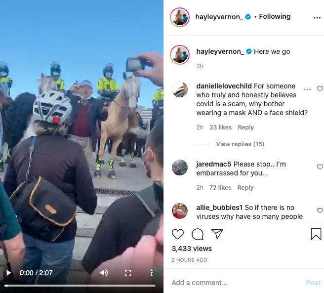Haley Vernon's Instagram post revealing The Shrine protest attendance