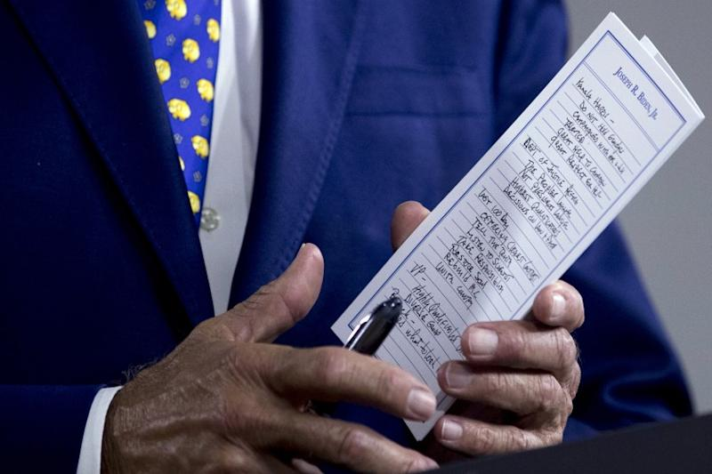 """The notes of Democratic presidential candidate former Vice President Joe Biden reference Sen. Kamala Harris, D-Calif., among other things as he speaks at a campaign event at the William """"Hicks"""" Anderson Community Center in Wilmington, Del., Tuesday, July 28, 2020.(AP Photo/Andrew Harnik)"""