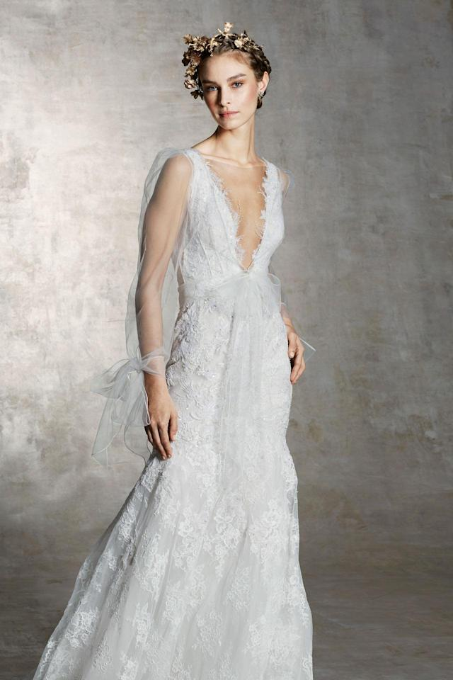 <p>Sheer, long-sleeve lace gown. (Photo: Courtesy of Marchesa) </p>