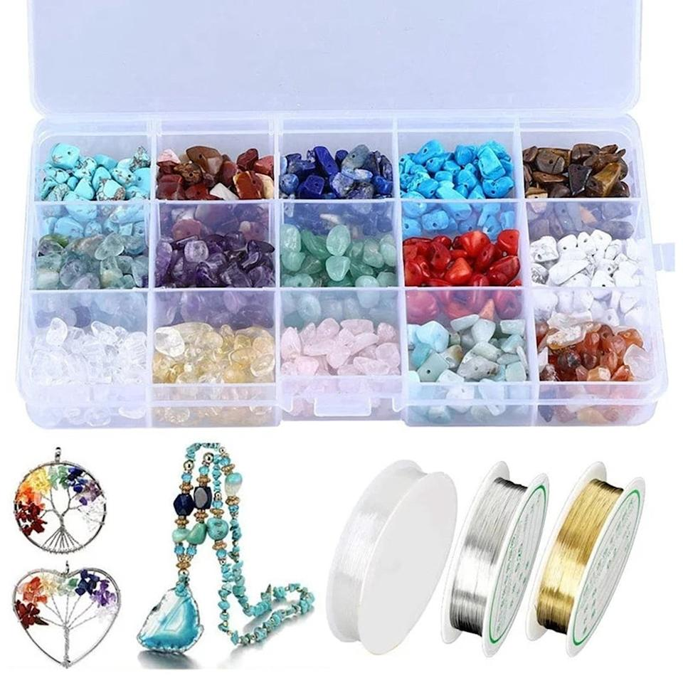 Natural Crystal Chips Kit with Metal Beading Wire and Elastic String for Jewelry Making, $56.17