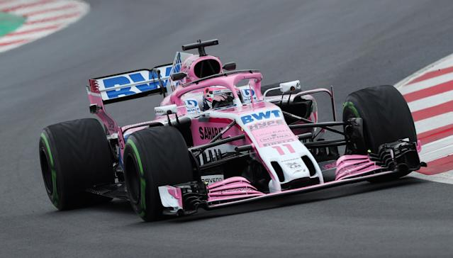 FILE PHOTO: F1 Formula One - Formula One Test Session - Circuit de Barcelona-Catalunya, Montmelo, Spain - March 1, 2018 Sergio Perez of Force India during testing REUTERS/Albert Gea/File photo