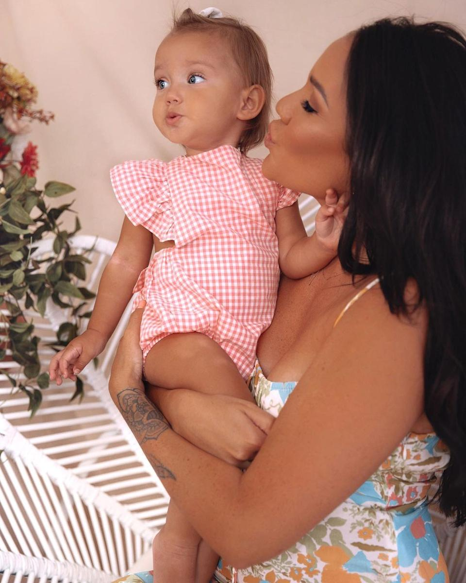 Former Married At First Sight star Davina Rankin with her baby daughter Mila-Mae