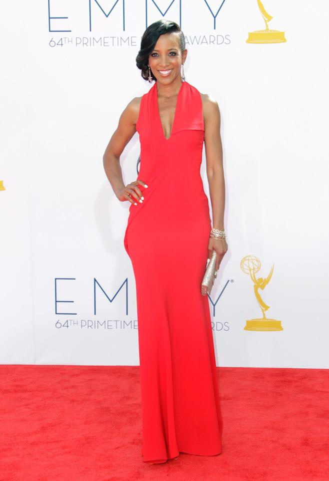 Shaun Robinson arrives at the 64th Primetime Emmy Awards at the Nokia Theatre in Los Angeles on September 23, 2012.