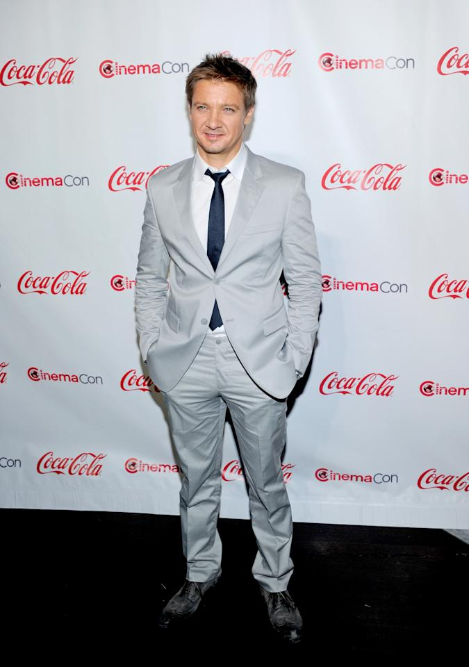 LAS VEGAS, NV - APRIL 26:  Actor Jeremy Renner, recipient of the Male Star of the Year Award, arrives at the CinemaCon awards ceremony at the Pure Nightclub at Caesars Palace during CinemaCon, the official convention of the National Association of Theatre Owners April 26, 2012 in Las Vegas, Nevada.  (Photo by Ethan Miller/Getty Images)
