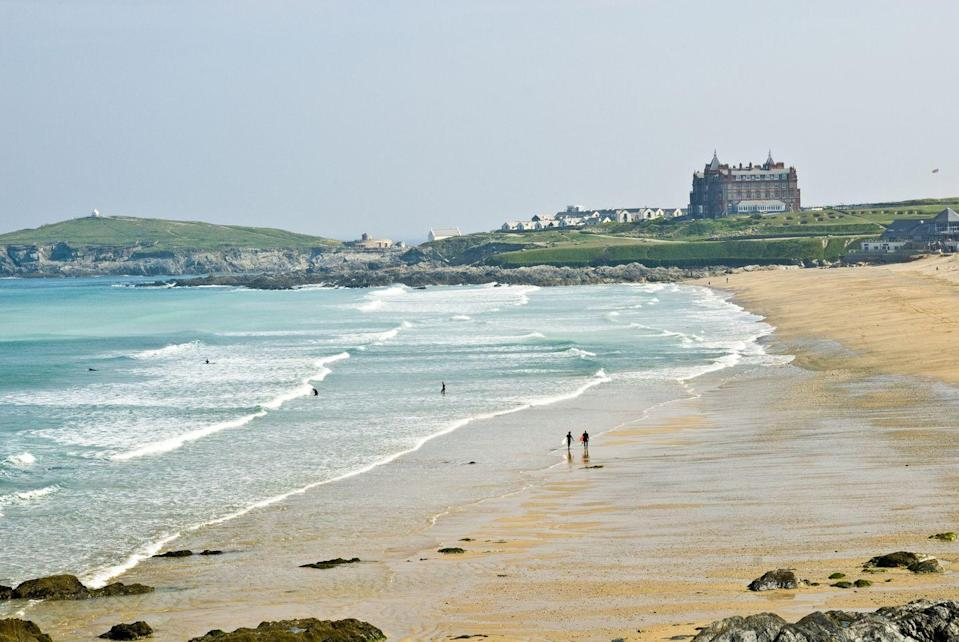 "<p>Fistral Beach in Fistral Bay on the north coast of Cornwall is the perfect location for surfing, walking, and enjoying the sunshine (if it ever comes..!)</p><p><a class=""link rapid-noclick-resp"" href=""https://www.airbnb.co.uk/"" rel=""nofollow noopener"" target=""_blank"" data-ylk=""slk:FIND AN AIRBNB"">FIND AN AIRBNB</a></p>"