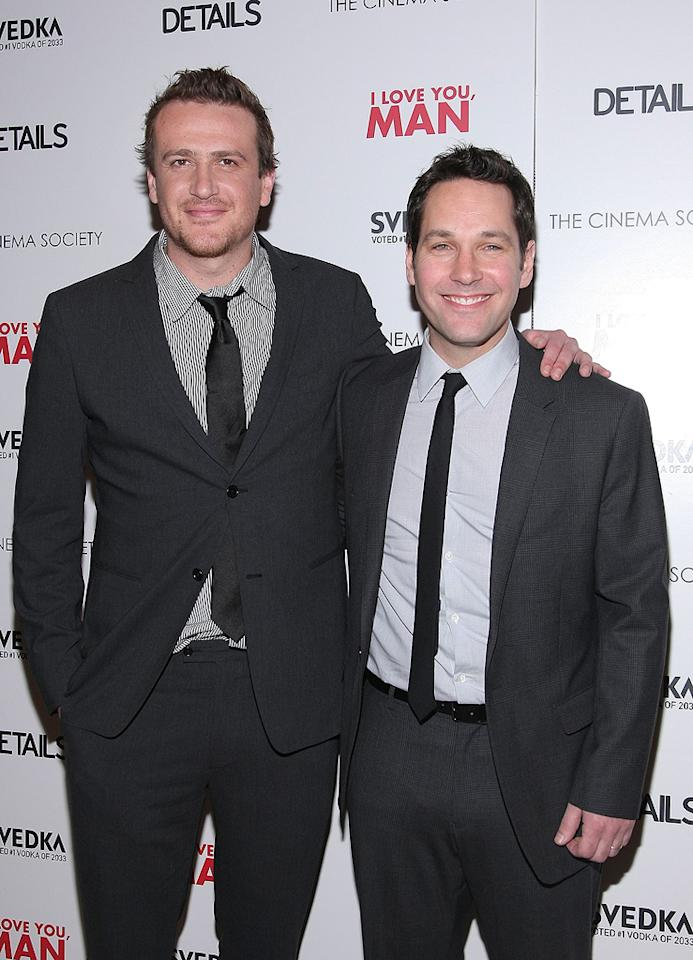 "<a href=""http://movies.yahoo.com/movie/contributor/1800019331"">Jason Segel</a> and <a href=""http://movies.yahoo.com/movie/contributor/1800018571"">Paul Rudd</a> at the New York Cinema Society screening of <a href=""http://movies.yahoo.com/movie/1810022085/info"">I Love You, Man</a> - 03/06/2009"