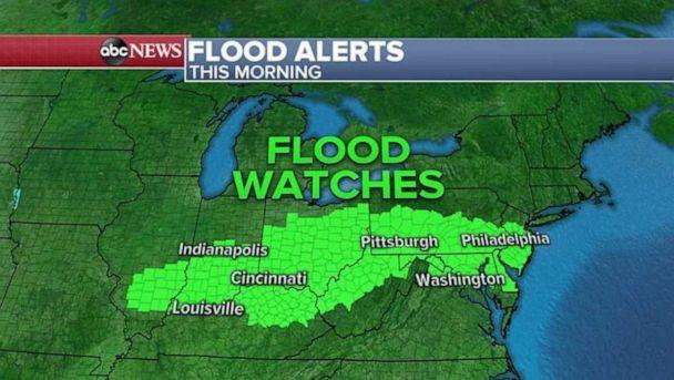 PHOTO: A wide patch of flood watches have been issued for Monday morning. (ABC News)