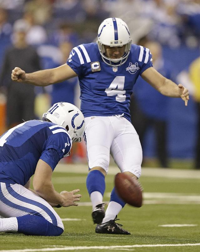 Indianapolis Colts' Adam Vinatieri (4) kicks a 26-yard field goal out of the hold of Pat McAfee (1) during the first half of an NFL football game against the Jacksonville Jaguars, Sunday, Dec. 29, 2013, in Indianapolis. With the field goal, Vinatieri became the seventh NFL player to score 2,000 career points. (AP Photo/Michael Conroy)