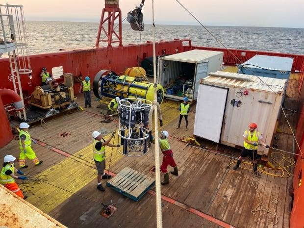 Ocean research was carried out on the deck of the Irving-owned offshore supply ship Atlantic Condor.  (Marine Environmental Observation, Prediction and Response network (MEOPAR) - image credit)