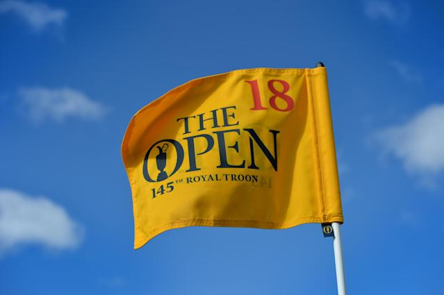 TROON, SCOTLAND - APRIL 26: The 18th pin flag at Royal Troon Golf Club during the Open Championship Media Day at Royal Troon on April 26, 2016 in Troon, Scotland. (Photo by Mark Runnacles/Getty Images)
