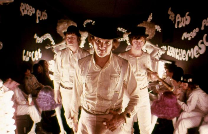 """<h1 class=""""title"""">MALCOLM MCDOWELL, A CLOCKWORK ORANGE, 1971</h1> <div class=""""caption""""> Directed by Stanley Kubrick, the film has long sparked controversy for its explicit content. It was even rated X upon its initial release in the United States. </div> <cite class=""""credit"""">Photo: Allstar Picture Library / Alamy Stock Photo</cite>"""