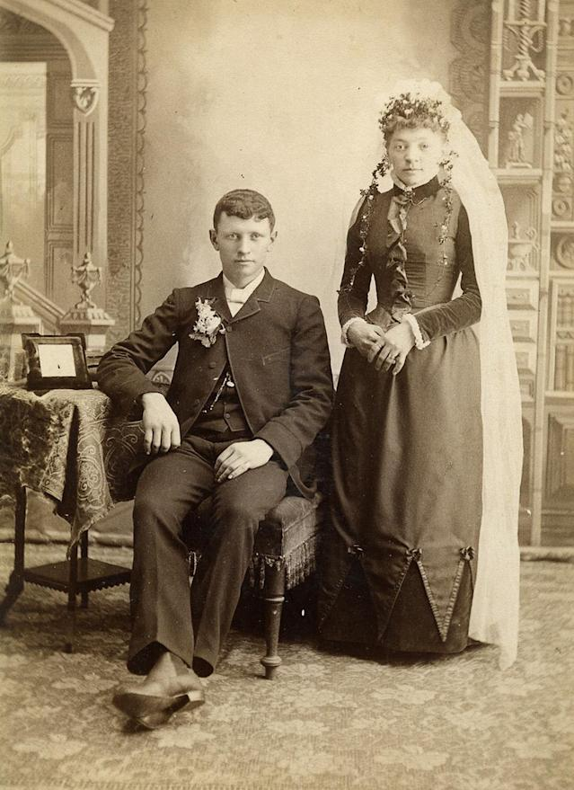 """<p>An interesting note about the photographs that Frank was able to discover is that many came from Wisconsin, where perhaps the trend of wedding photography, albeit different from today in style, first caught on in America.(Pictured: Vintage wedding portraits from """"I Do, I Do"""" exhibit) </p>"""