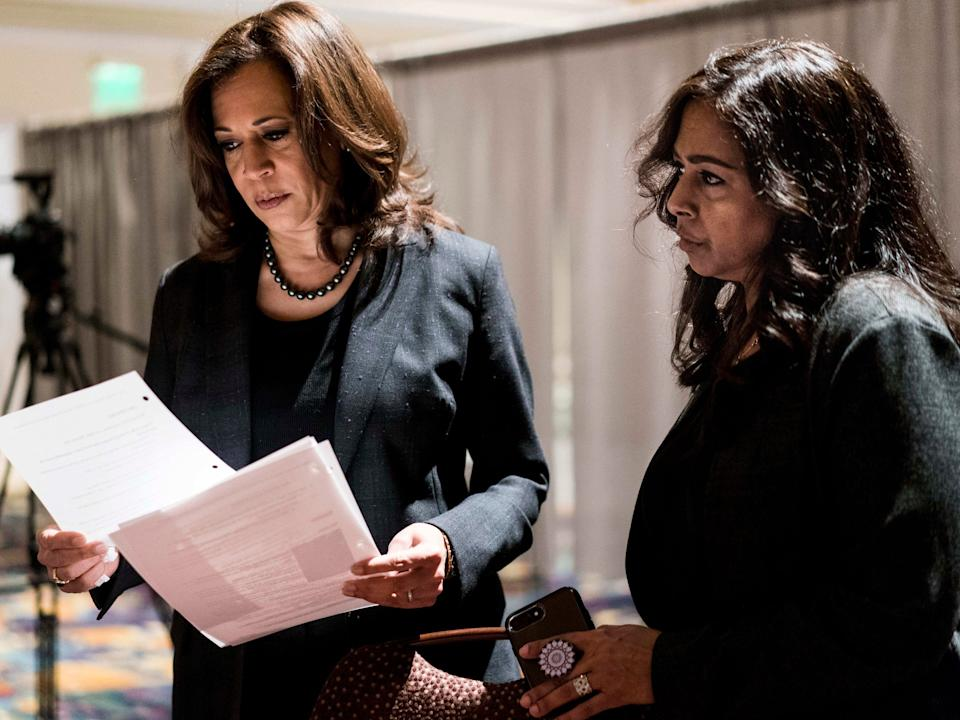 """Democratic Candidate for President Senator Kamala Harris (D-CA), with sister and advisor Maya Lakshmi Harris, right, prepares to speak to women of color in a packed banquet room during the Black Enterprise Women of Power Summit at The Mirage in Las Vegas, Nevada on Friday March 1, 2019. <p class=""""copyright"""">Melina Mara/The Washington Post via Getty Images</p>"""