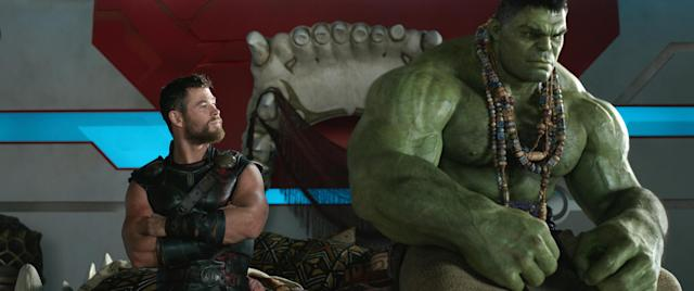 Thor (Chris Hemsworth) and the Hulk (Mark Ruffalo) in a scene from <em>Thor: Ragnarok.</em> (Photo: Marvel Studios)