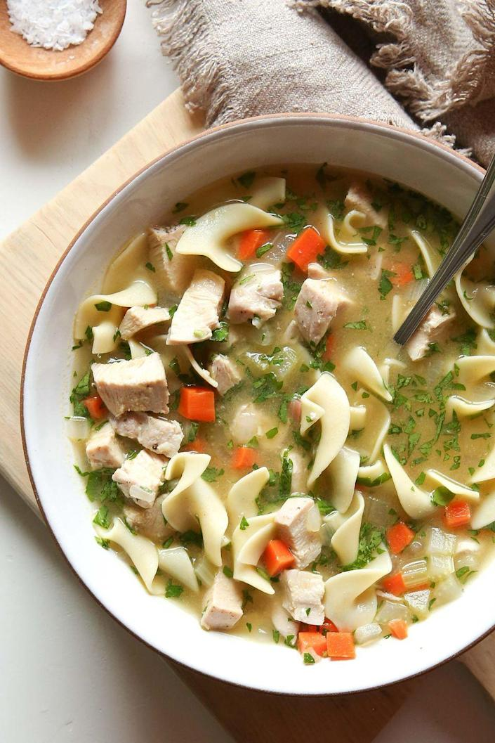 "<p>You can't beat a classic.</p><p>Get the recipe from <a href=""https://www.delish.com/cooking/recipe-ideas/recipes/a51338/homemade-chicken-noodle-soup-recipe/"" rel=""nofollow noopener"" target=""_blank"" data-ylk=""slk:Delish."" class=""link rapid-noclick-resp"">Delish. </a></p>"