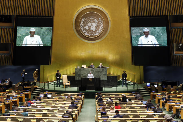 Chad's President Idriss Deby Itno addresses the 74th session of the United Nations General Assembly, Wednesday, Sept. 25, 2019. (AP Photo/Richard Drew)