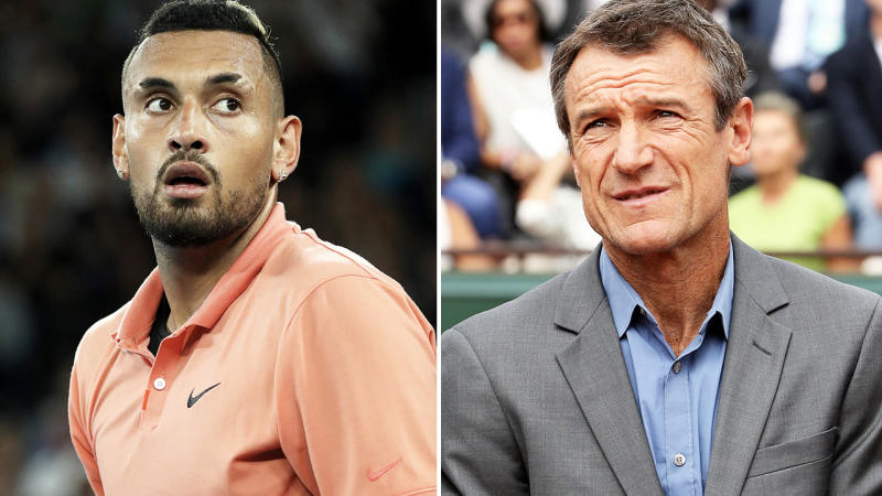 Nick Kyrgios and Mats Wilander, pictured here in 2019.