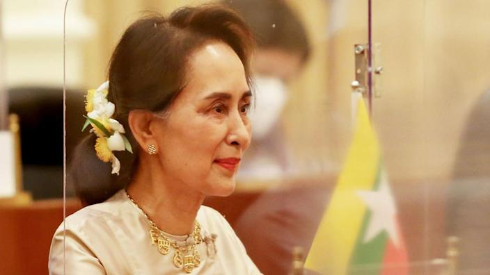 Aung San Suu Kyi attends a meeting on September 1, 2020