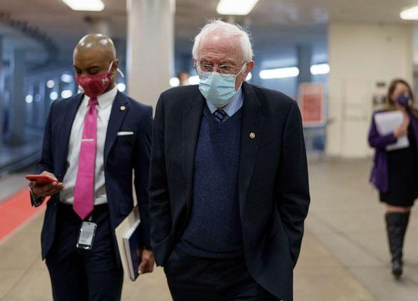 PHOTO: Sen. Bernie Sanders heads to the chamber for a vote at the Capitol in Washington, Feb. 25, 2021. (J. Scott Applewhite/AP)